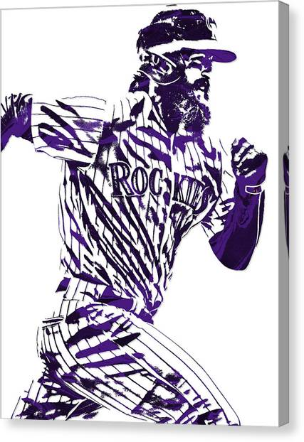 Colorado Rockies Canvas Print - Charlie Blackmon Colorado Rockies Pixel Art 4 by Joe Hamilton