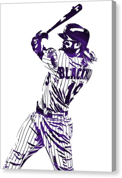 Colorado Rockies Canvas Print - Charlie Blackmon Colorado Rockies Pixel Art 5 by Joe Hamilton