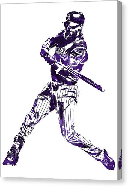 Colorado Rockies Canvas Print - Charlie Blackmon Colorado Rockies Pixel Art 6 by Joe Hamilton