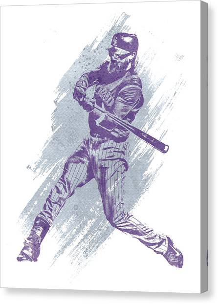 Colorado Rockies Canvas Print - Charlie Blackmon Colorado Rockies Water Color Art 1 by Joe Hamilton