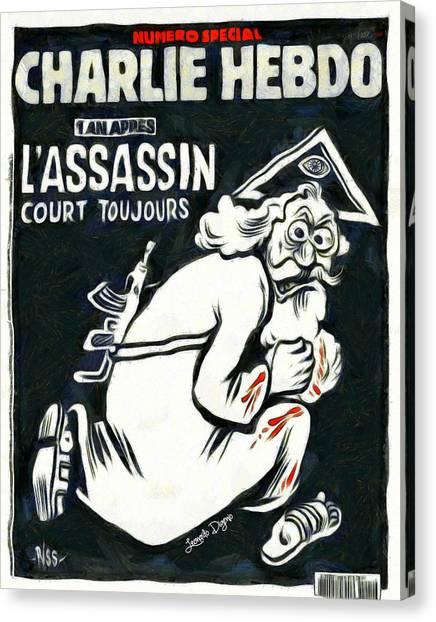 Terrorist Canvas Print - Charlie Hebdo One Year Later by Leonardo Digenio