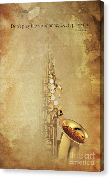 Taylor Swift Canvas Print - Charlie Parker Saxophone Brown Vintage Poster And Quote, Gift For Musicians by Pablo Franchi