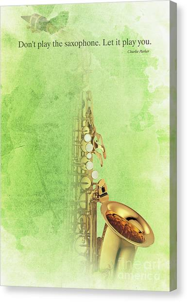 Taylor Swift Canvas Print - Charlie Parker Saxophone Green Vintage Poster And Quote, Gift For Musicians by Pablo Franchi