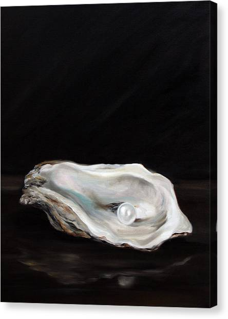 Oysters Canvas Print - Charlie's Pearl by Mary Sparrow