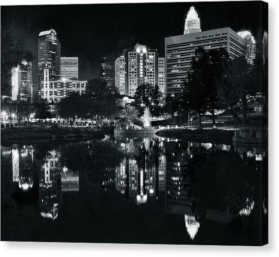 Charlotte Bobcats Canvas Print - Charlotte Black Night by Frozen in Time Fine Art Photography