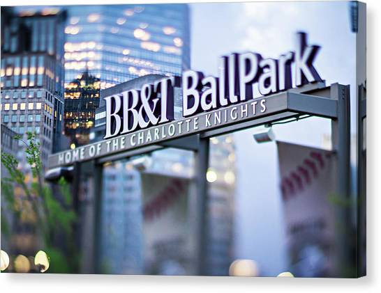 Charlotte Nc Usa  Bbt Baseball Park Sign  Canvas Print