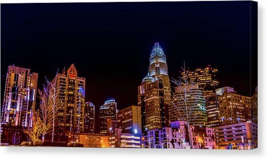 Charlotte Skyline At Night Canvas Print