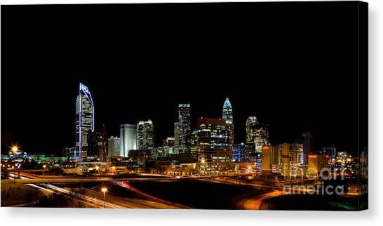 Charlotte Skyline Panoramic Canvas Print by Patrick Schneider