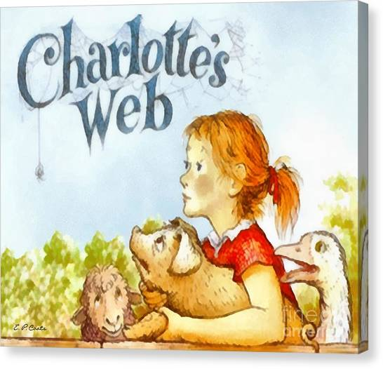 Whimsical Canvas Print - Charlottes Web by Elizabeth Coats