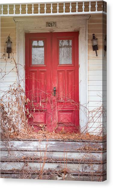 Charming Old Red Doors Portrait Canvas Print