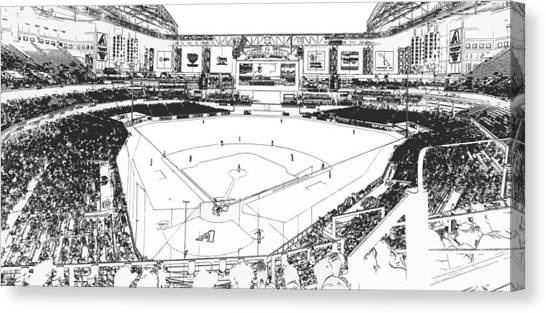 Arizona Diamondbacks Canvas Print - Chase Field 2015 Line Drawing by C H Apperson