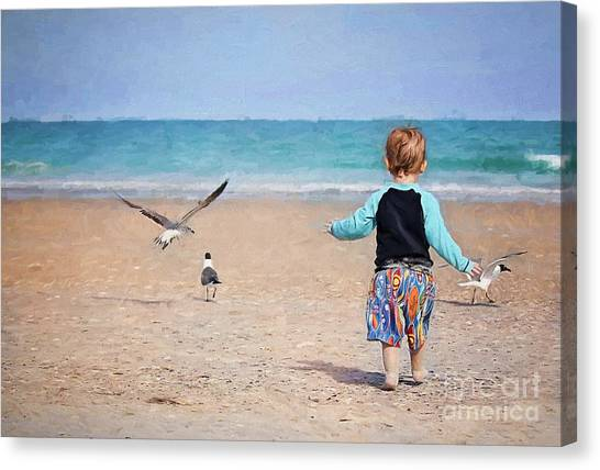 Chasing Birds On The Beach Canvas Print