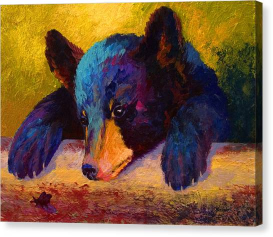 Hunting Canvas Print - Chasing Bugs - Black Bear Cub by Marion Rose