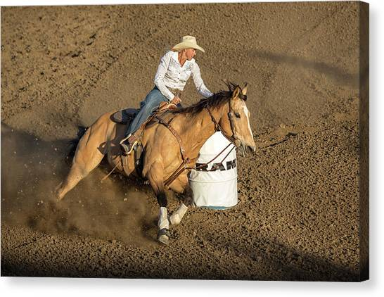 Barrel Racing Canvas Print - Chasing Cans by Caitlyn Grasso
