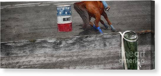 Barrel Racing Canvas Print - Chasing The Barrel  by Steven Digman