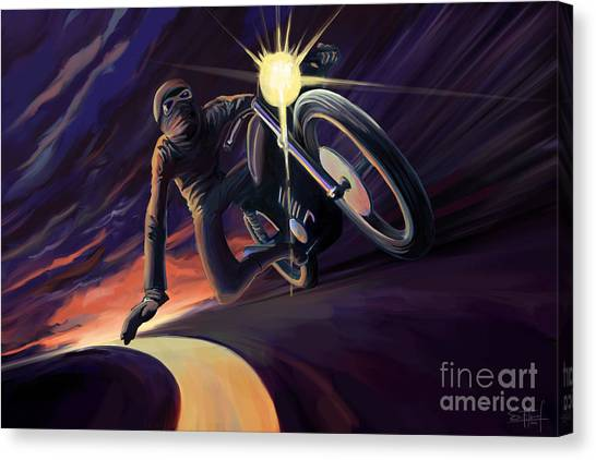 Cafes Canvas Print - Chasing The Line Speed Racer by Sassan Filsoof