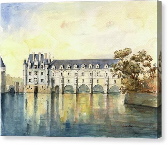 Chenonceau Castle Canvas Print - Chateau De Chenonceau by Juan Bosco