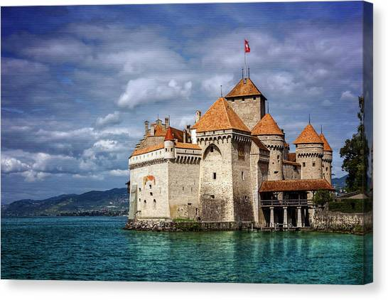 Fortification Canvas Print - Chateau De Chillon Montreux Switzerland  by Carol Japp