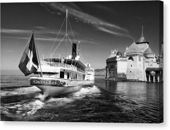 Chateau De Chillon, Steamboat Canvas Print