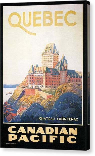 Quebec Canvas Print - Chateau Frontenac Luxury Hotel In Quebec, Canada - Vintage Travel Advertising Poster by Studio Grafiikka
