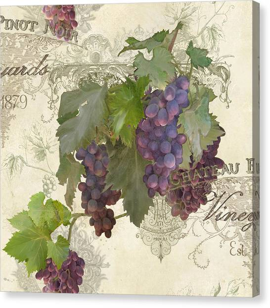 Printers Canvas Print - Chateau Pinot Noir Vineyards - Vintage Style by Audrey Jeanne Roberts