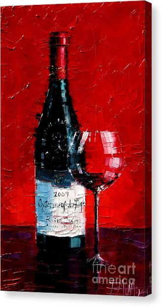 Wine Art Canvas Print - Still Life With Wine Bottle And Glass I by Mona Edulesco