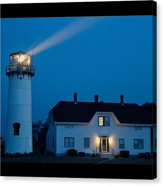 Lighthouses Canvas Print - Chatham Light At Twilight by Justin Connor