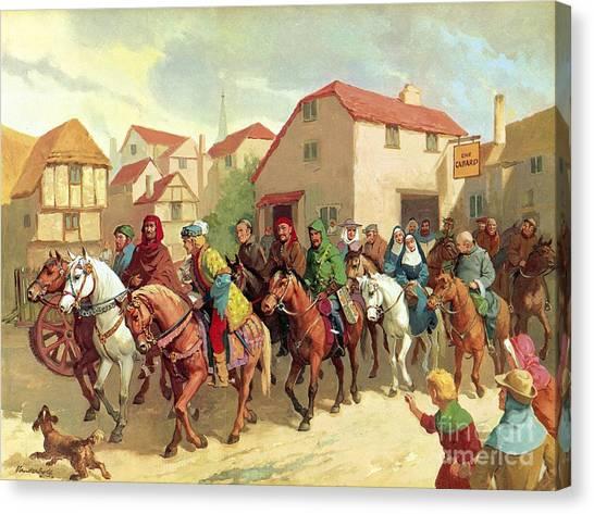 Pilgrims Canvas Print - Chaucer's Pilgrims by van der Syde