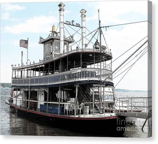 Canvas Print featuring the photograph Chautauqua Belle Steamboat With Ink Sketch Effect by Rose Santuci-Sofranko