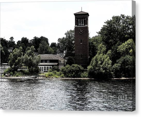 Canvas Print featuring the photograph Chautauqua Institute Miller Bell Tower 2 With Ink Sketch Effect by Rose Santuci-Sofranko