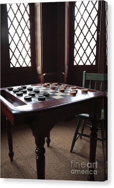 Checkers Table At The Lincoln Cottage In Washington Dc Canvas Print