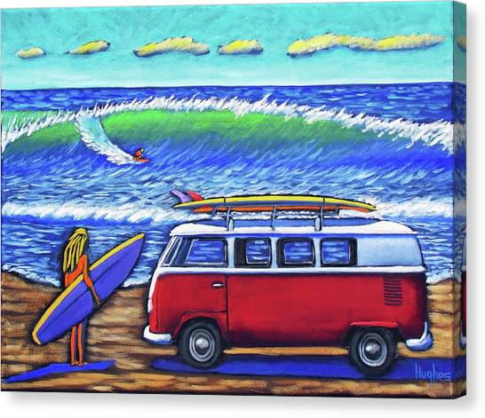 Checking Out The Waves Canvas Print