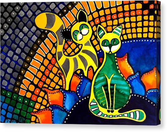 Cheer Up My Friend - Cat Art By Dora Hathazi Mendes Canvas Print