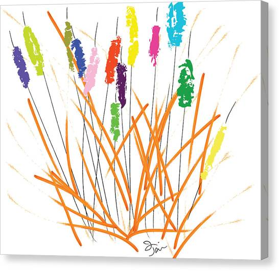 Cheerful Cattails Canvas Print