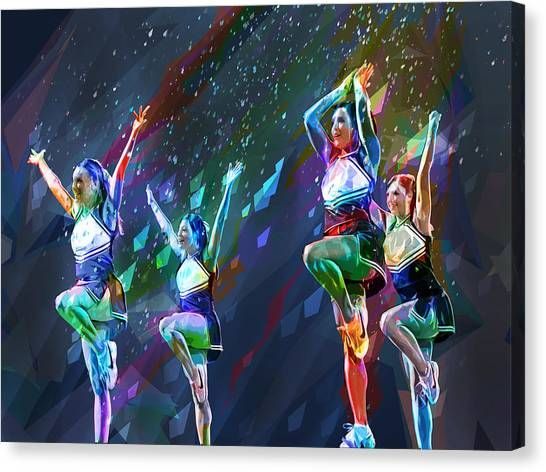 Cheerleading Canvas Print - Cheerleader Squad With Cut Paper Background by Elaine Plesser