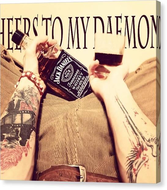 Whiskey Canvas Print - #cheerstomydaemons #jackdaniels #tattoo by Jakub Horsky