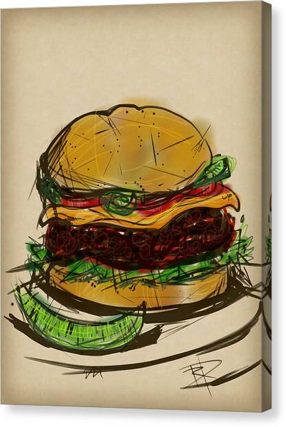 Ketchup Canvas Print - Cheese Burger by Russell Pierce