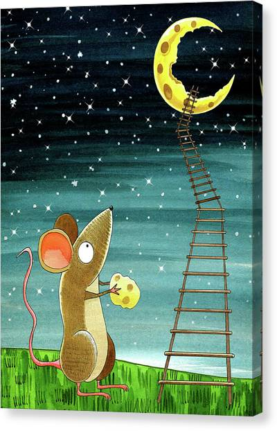 Mice Canvas Print - Cheese Moon  by Andrew Hitchen