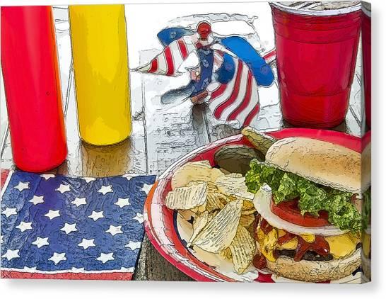 Iced Tea Canvas Print - Cheeseburger Cheeseburger by LeeAnn White
