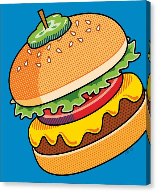 Junk Canvas Print - Cheeseburger On Blue by Ron Magnes