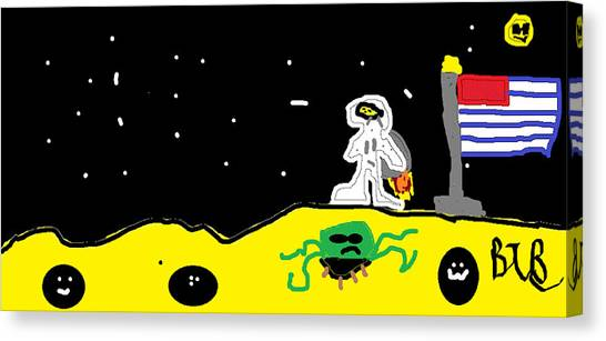 Canvas Print - Cheesy Moon Made Of Cheese Time With The Sun by Santa Clause