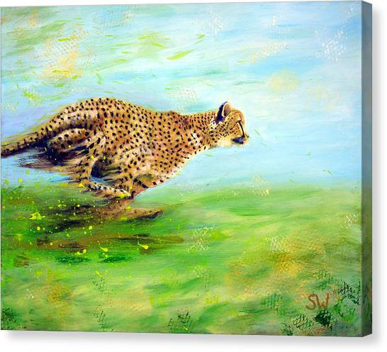 Cheetah At Speed Canvas Print