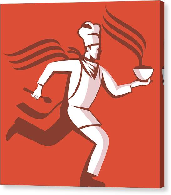 Chef Cook Baker Running With Soup Bowl Canvas Print by Aloysius Patrimonio