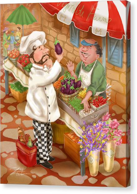 Chefs Go To Market I Canvas Print