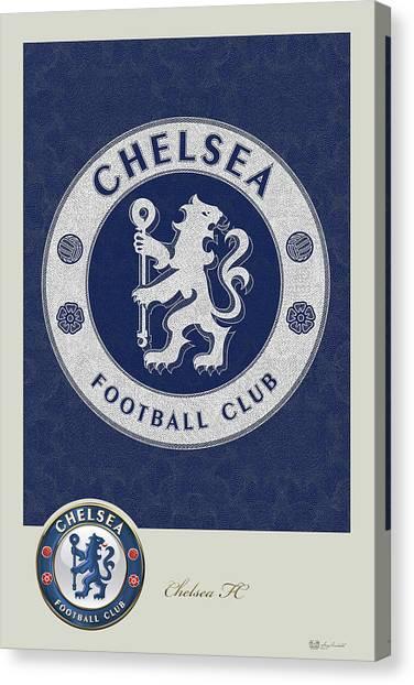 Chelsea Fc Canvas Print - Chelsea F C - 3 D Badge Over Vintage Logo by Serge Averbukh