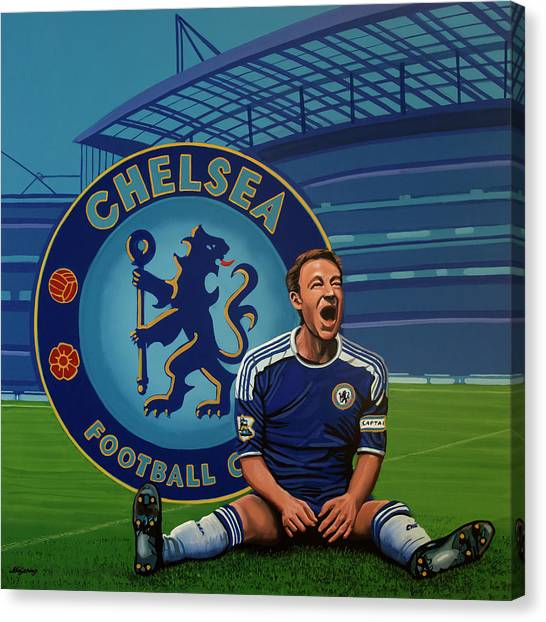 Soccer Players Canvas Print - Chelsea London Painting by Paul Meijering