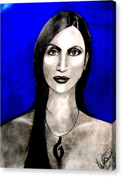 Canvas Print featuring the drawing Chelu by Michelle Dallocchio