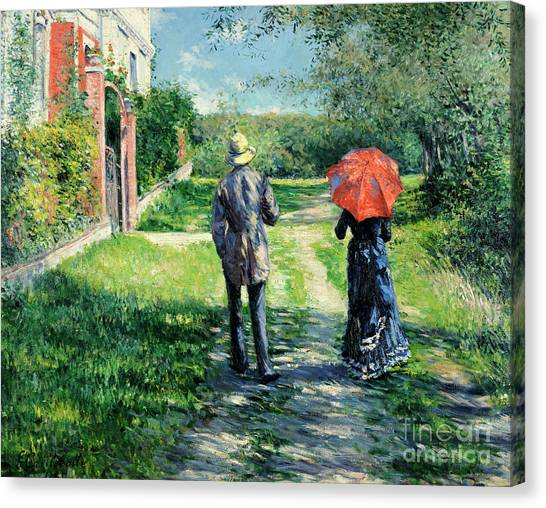Victorian Garden Canvas Print - Chemin Montant by Gustave Caillebotte