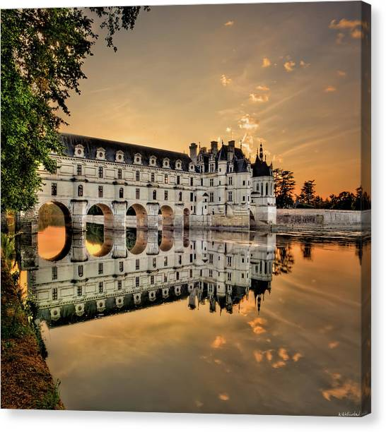 Chenonceau Castle Canvas Print - Chenonceau Castle In The Twilight by Weston Westmoreland