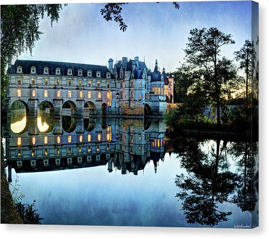 Chenonceau Twilight In Blue - Vintage Version Canvas Print
